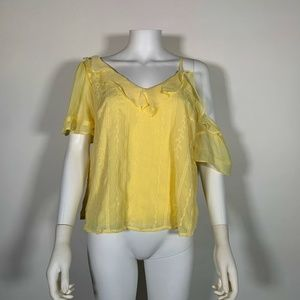 1 state Top Blouse Yellow Ruffle One Shoulder Sz S